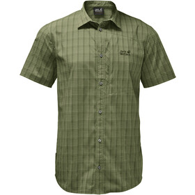 Jack Wolfskin Rays Stretch Vent Fietsshirt Korte Mouwen Heren, light moss checks